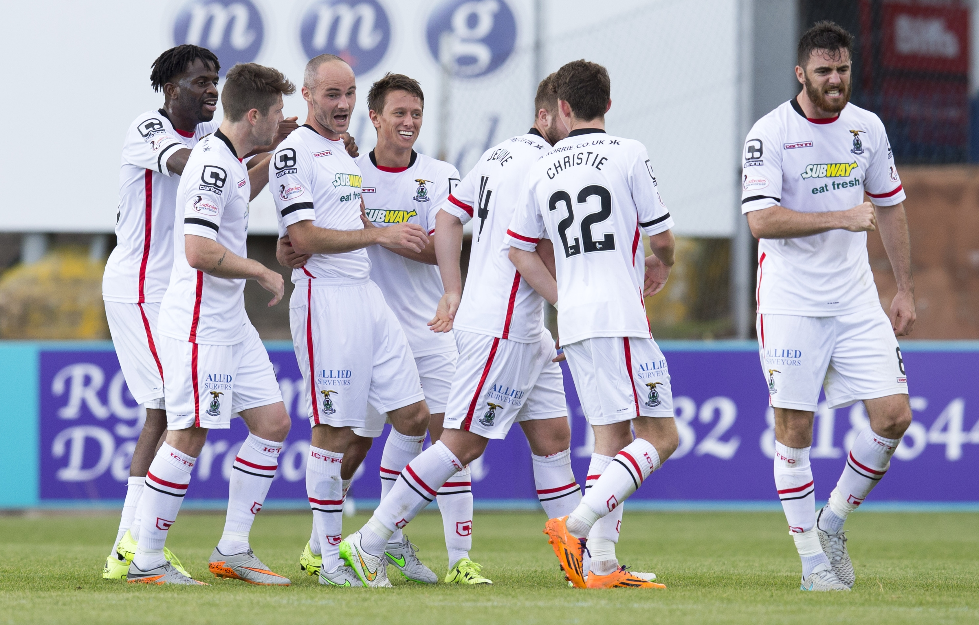 David Raven celebrates netting the opener for Caley Thistle
