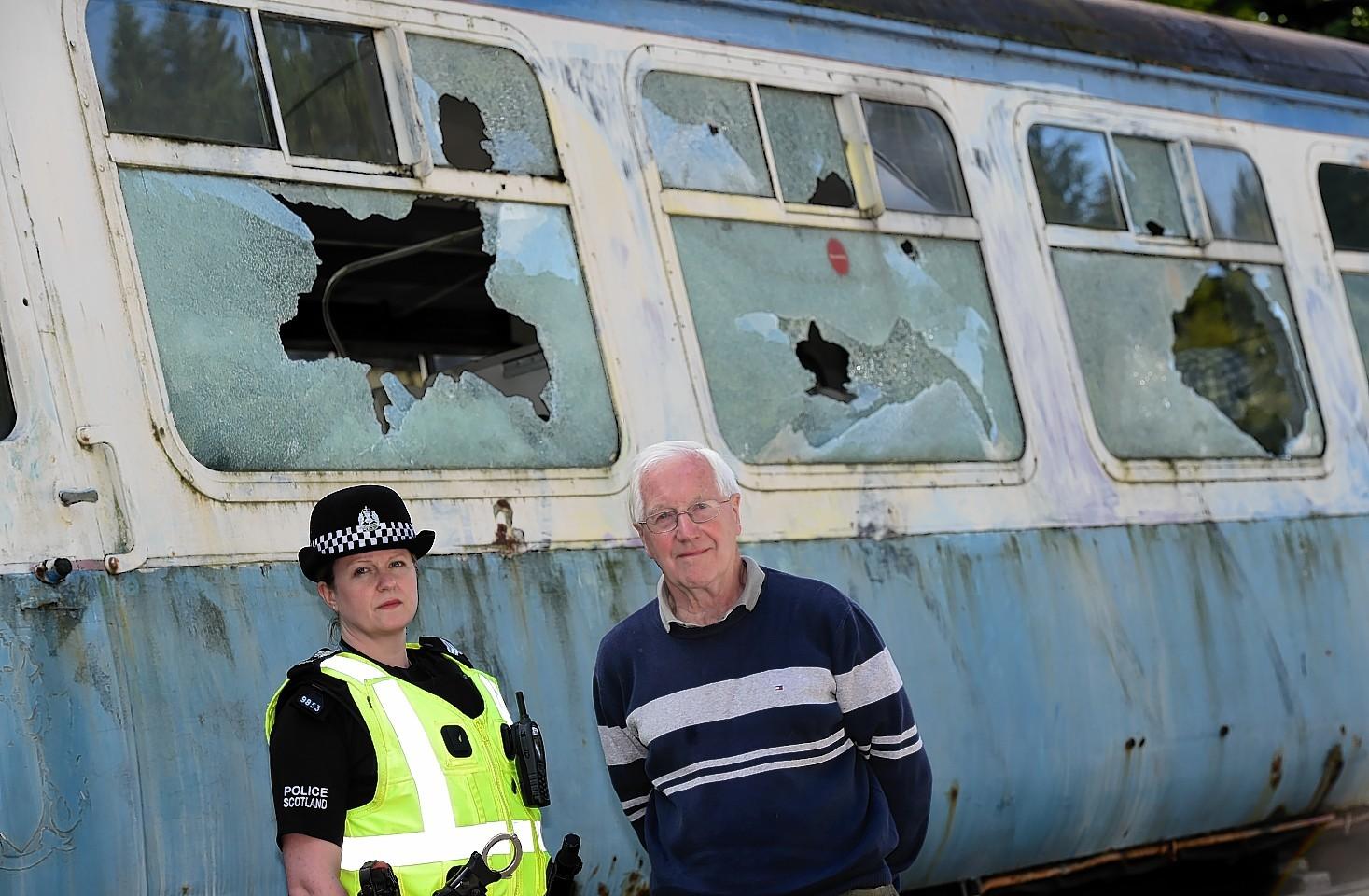 Police Scotland sgt Julie Stephen with Bill Halliday of the Royal Deeside railway team