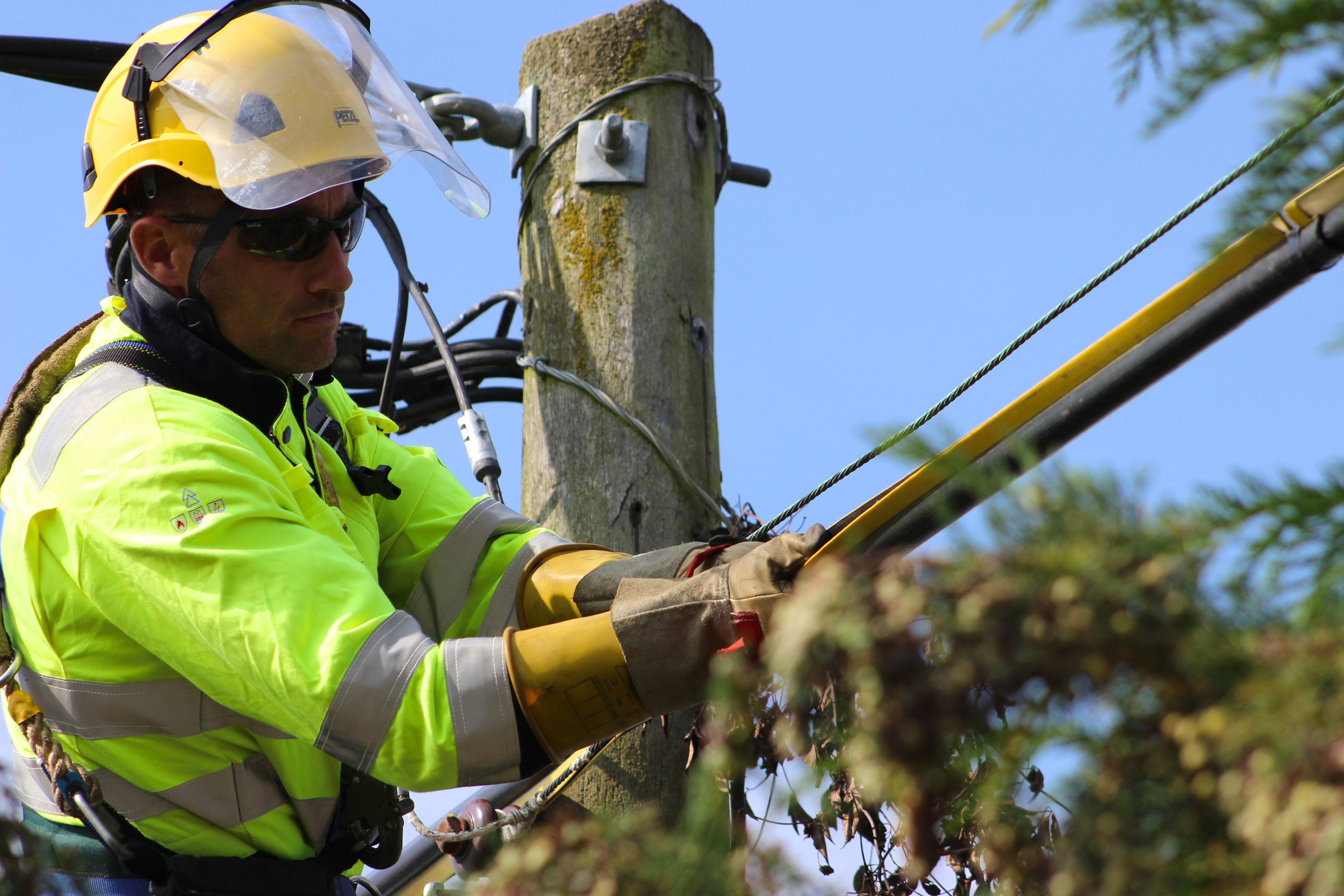 An SSE engineer works to restore electricity