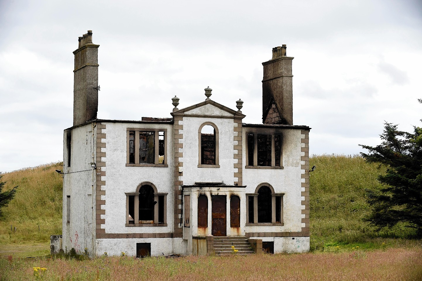 The gutted remains of Sandford Lodge
