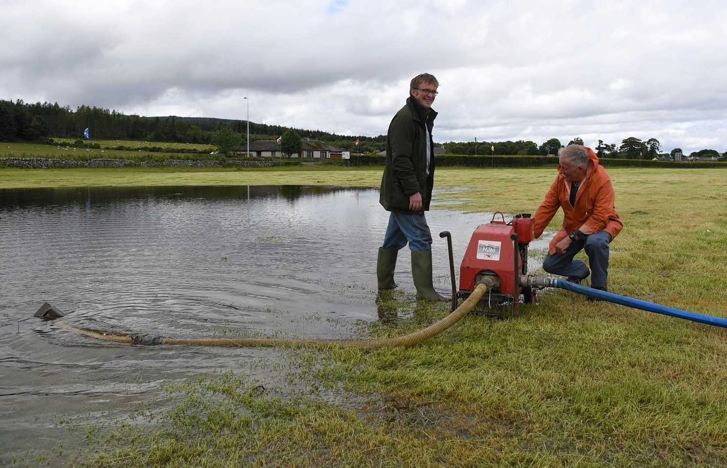 Pumping out of the field ahead of Tain Highland Gathering