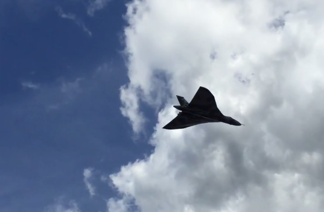 The black saucer shaped object followed the RAF Vulcan which has recently been decommissioned