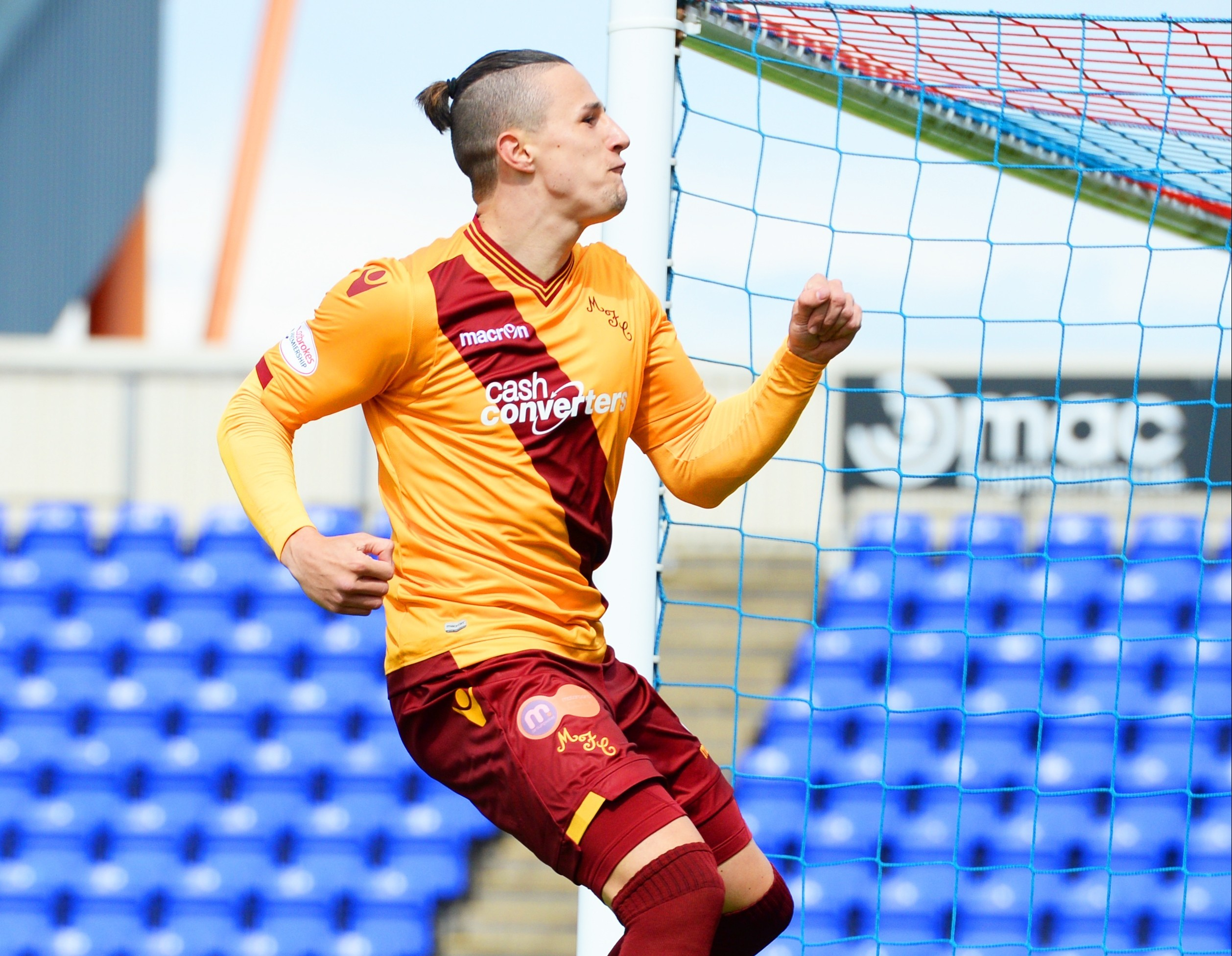 Wes Fletcher celebrates netting the only goal of the game but he will miss out this weekend