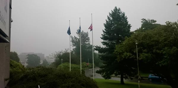 The flags at Woodhill House are lowered to half mast following councillor Joanna Strathdee's death