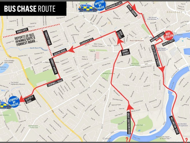 The map shows the route the stolen bus was taken on