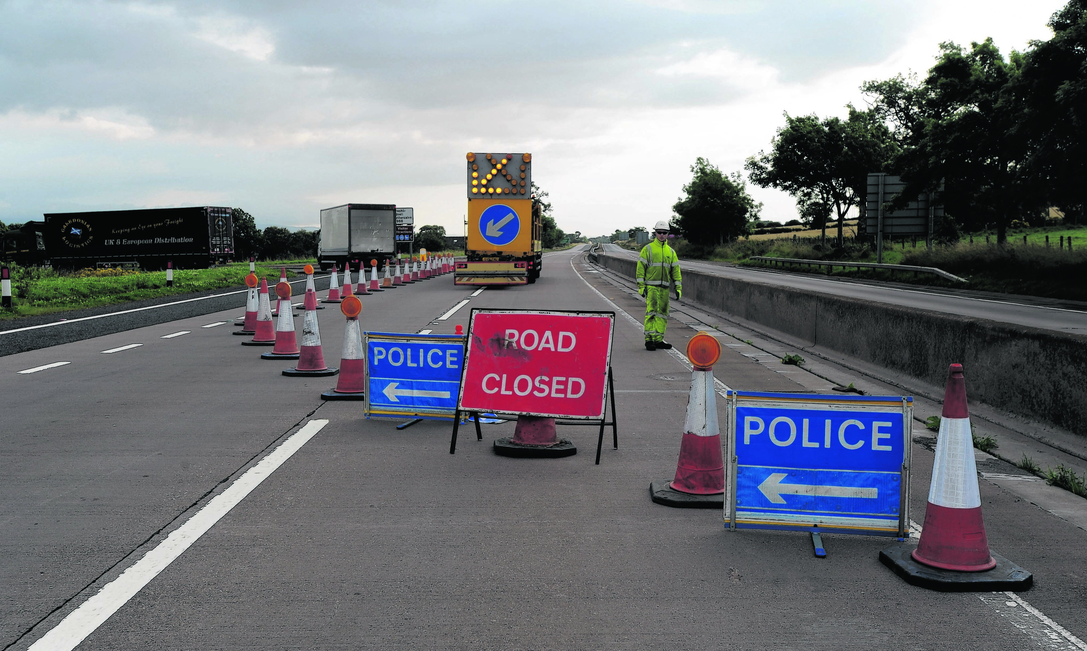 The A90 is closed at Stracathro after a fatal accident in the early hours of this morning