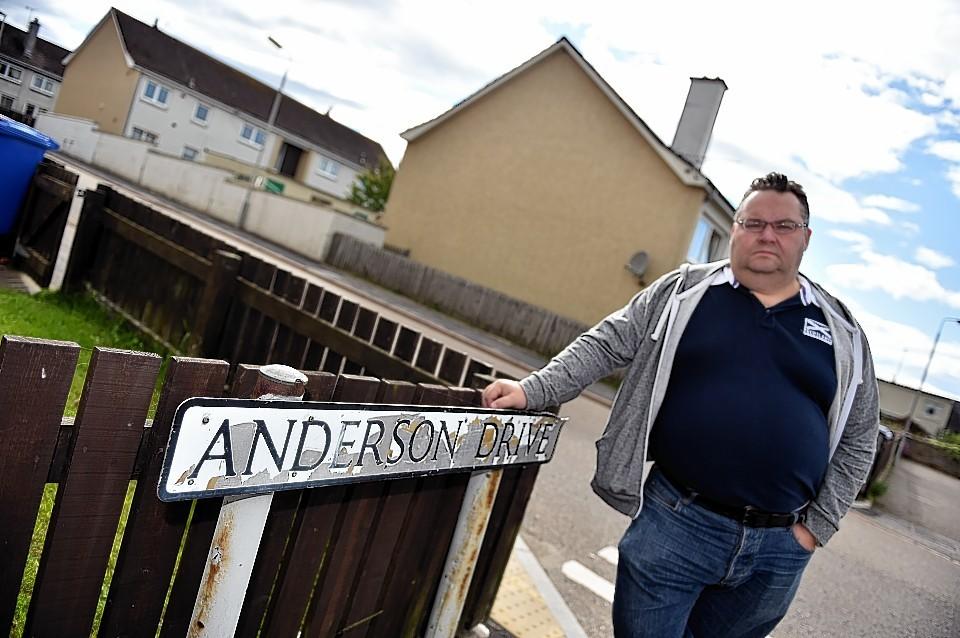Councillor Graham Leadbitter in Anderson drive, Elgin