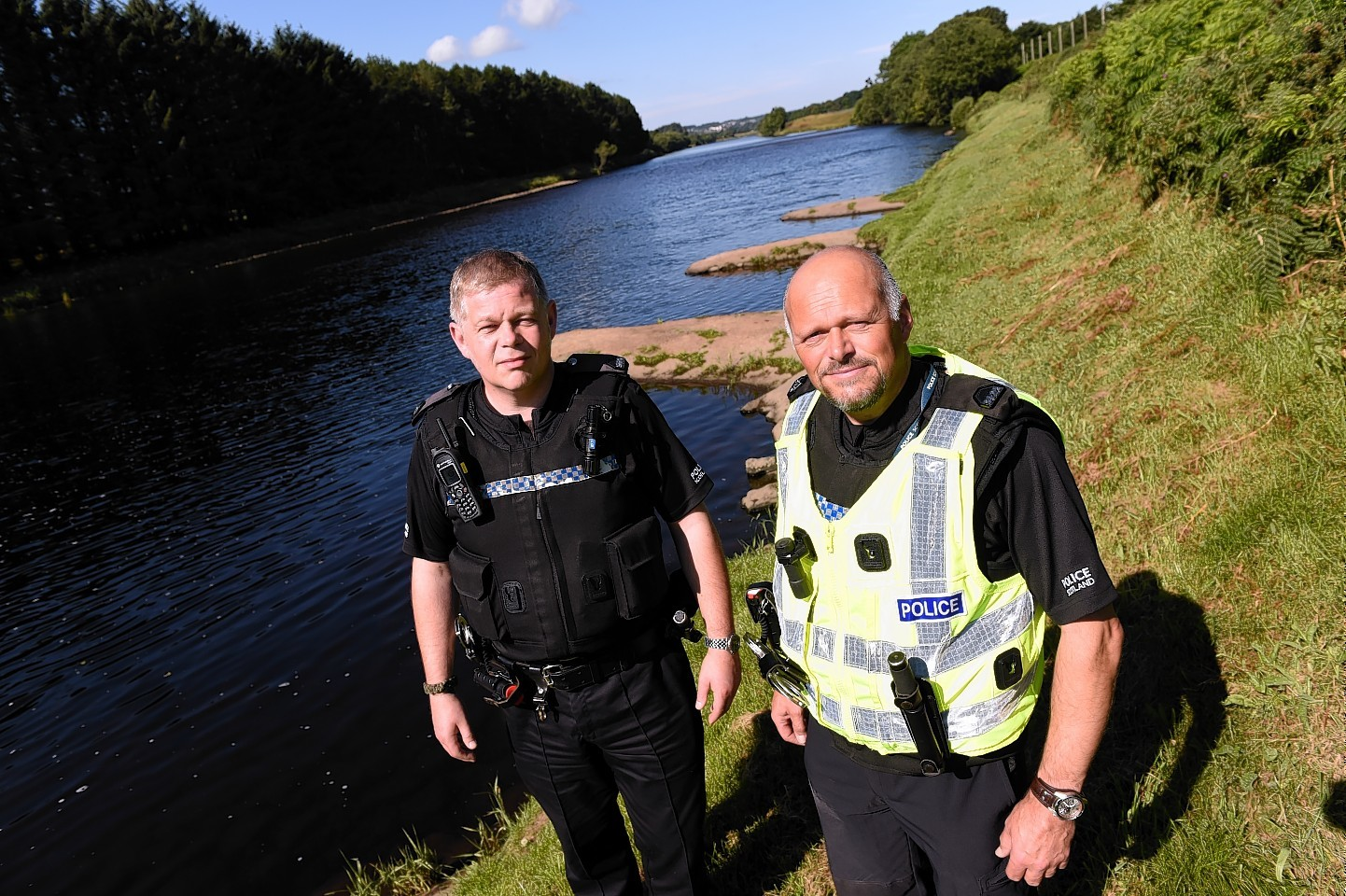 Constables Steve Lafferty and Mike Whyte patrolling the River Dee