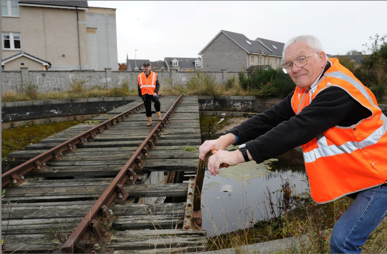 The Ferryhill Railway Heritage Trust has reached an agreement with Network Rail to overhaul the railway turntable near the Duthie Park. David Clucas (front) and Gordon Simpson. Picture by Colin Rennie