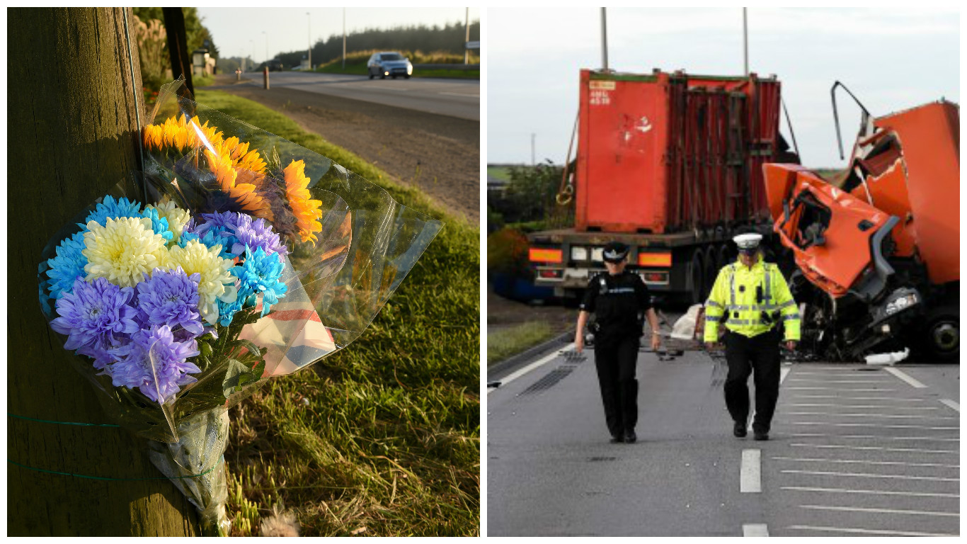 Flowers have been left beside the A90 where two drivers were killed