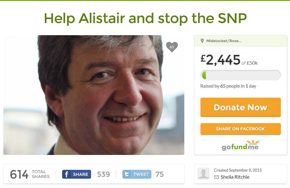 The fundraising page has been launched to raise money for Alistair Carmichael's legal costs
