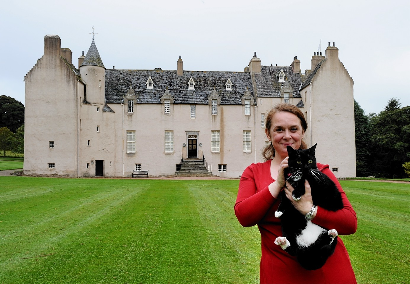 Drum Castle manager Alison Burke outside the 13th-century building
