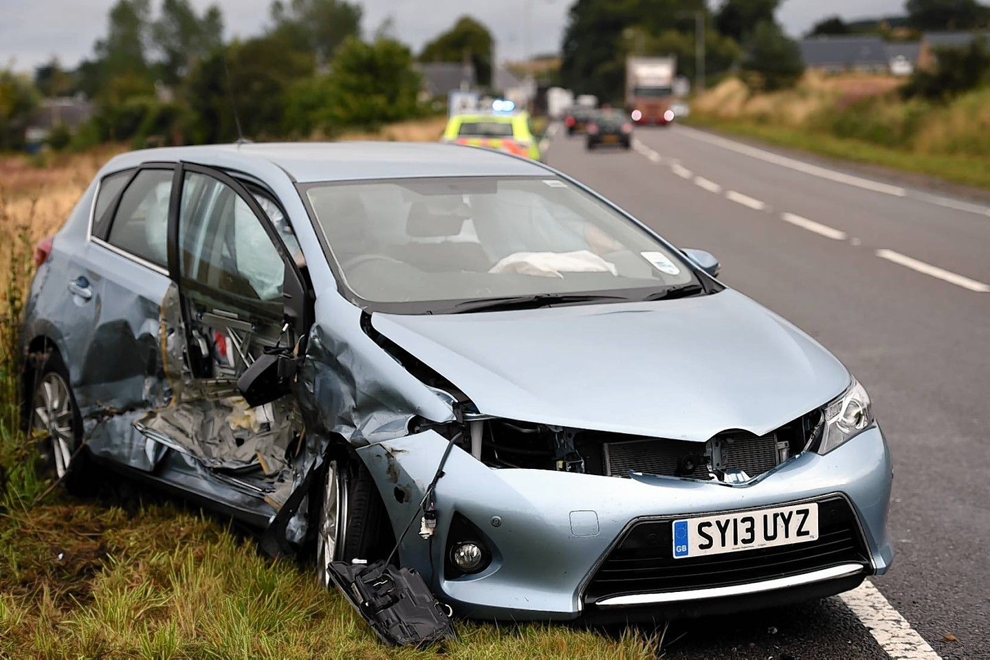 The Toyota was left at the side of the road