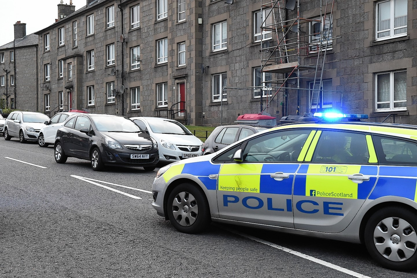 Police at the scene of an accident where a person was knocked down on Balnagask Road, Torry.  Picture by KEVIN EMSLIE