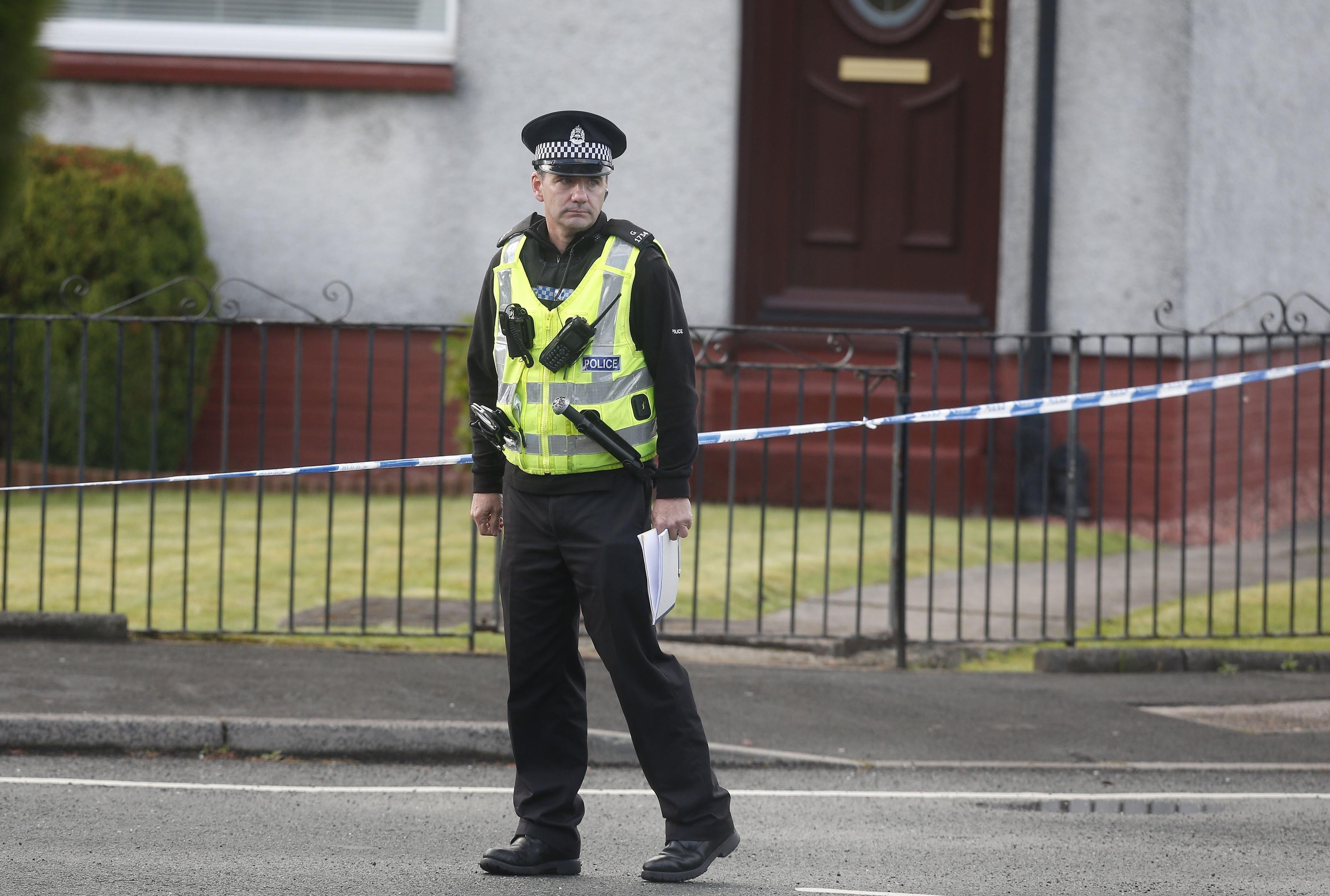 Police near the scene in Bishopbriggs