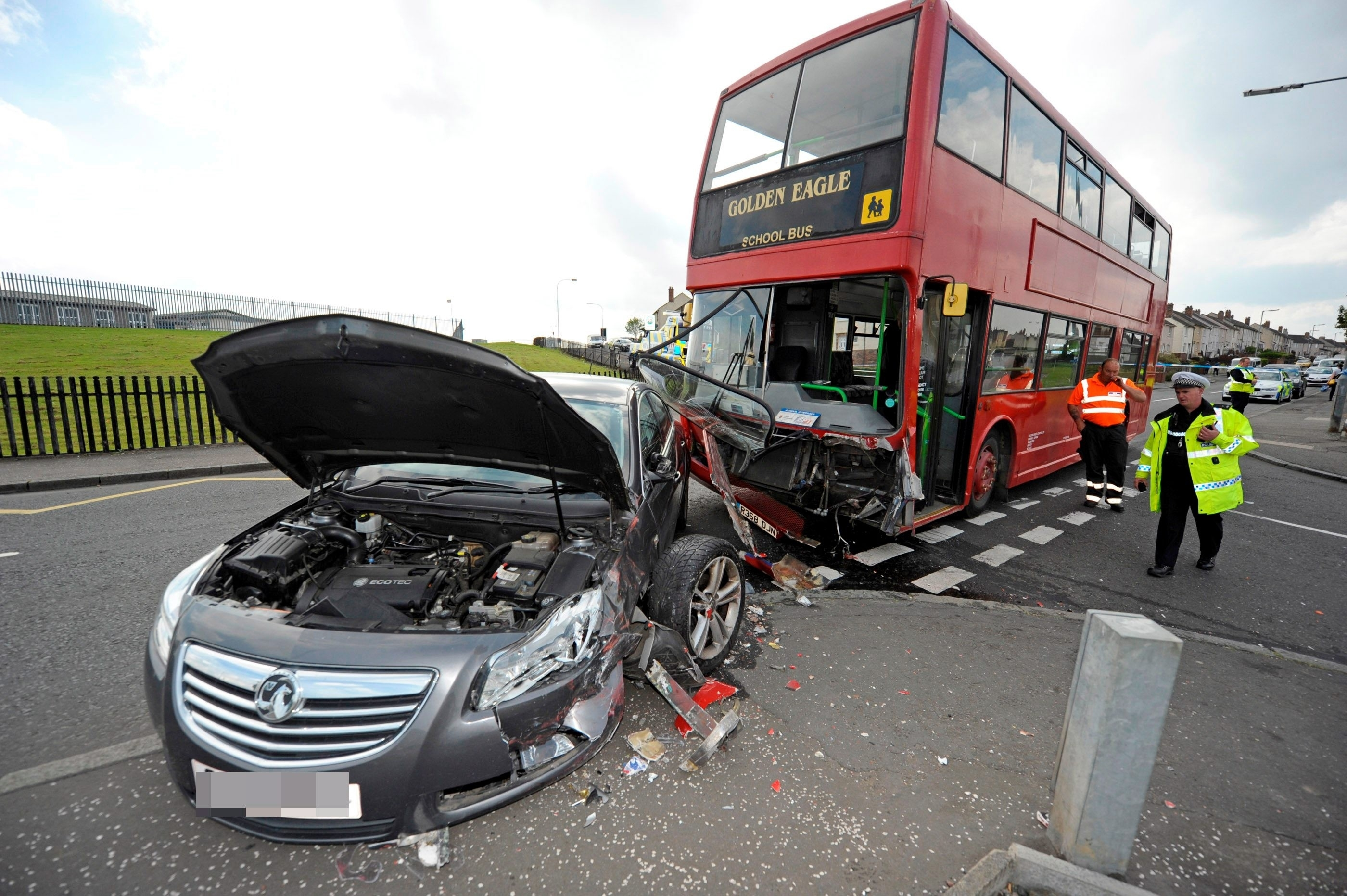 School children taken to hospital after the bus they were travelling in collided with a car