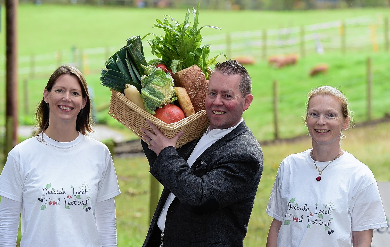The Kilted Chef, Craig Wilson, of Eat on the Green, with organisers Sarah Misra (left) and Rachel Gambro (right).     Picture by Kami Thomson