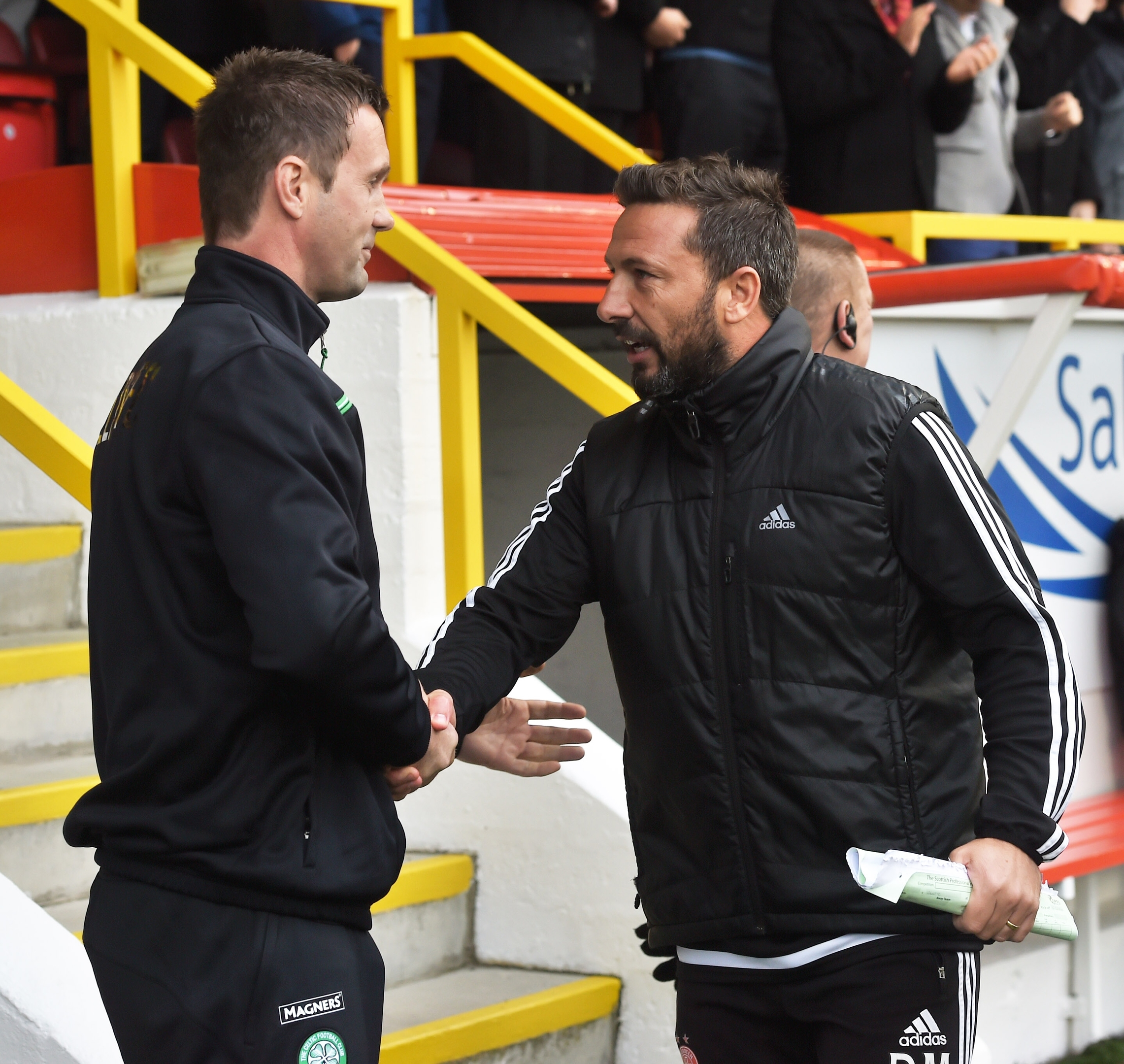 Celtic manager Ronny Deila with Aberdeen manager Derek McInnes ahead of the game