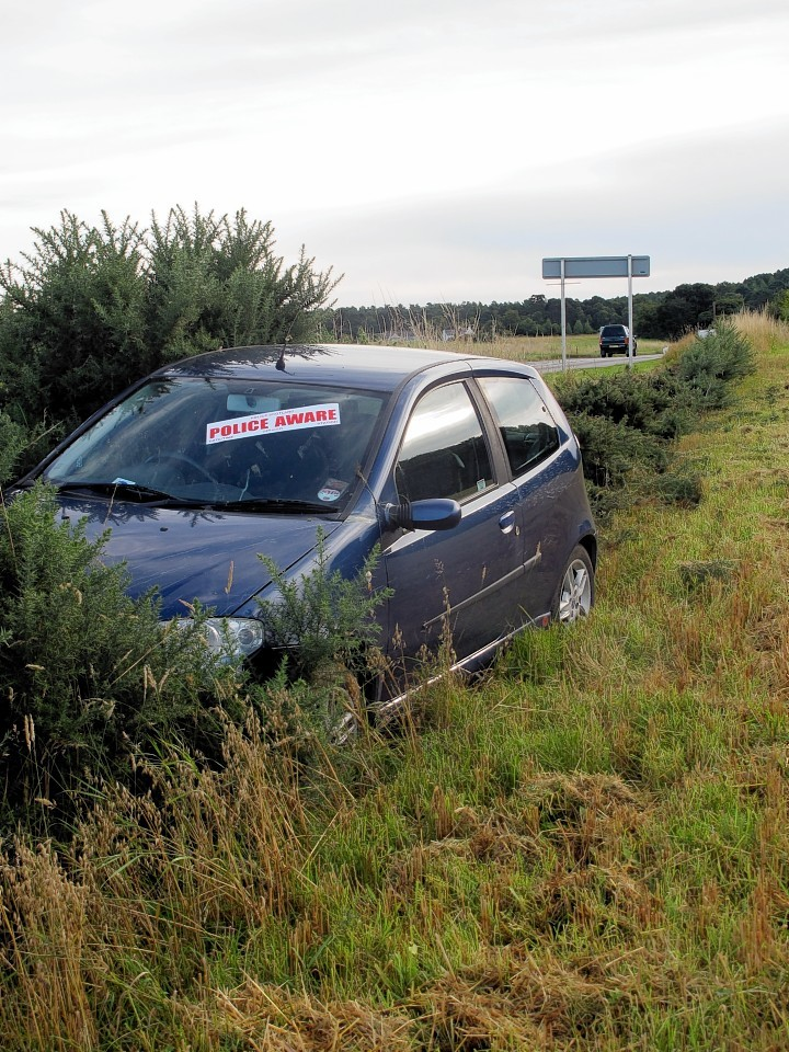 The Fiat Punto crashed  approximately one mile east of lhanbryde on the west bound side of the A96. Picture by Gordon Lennox