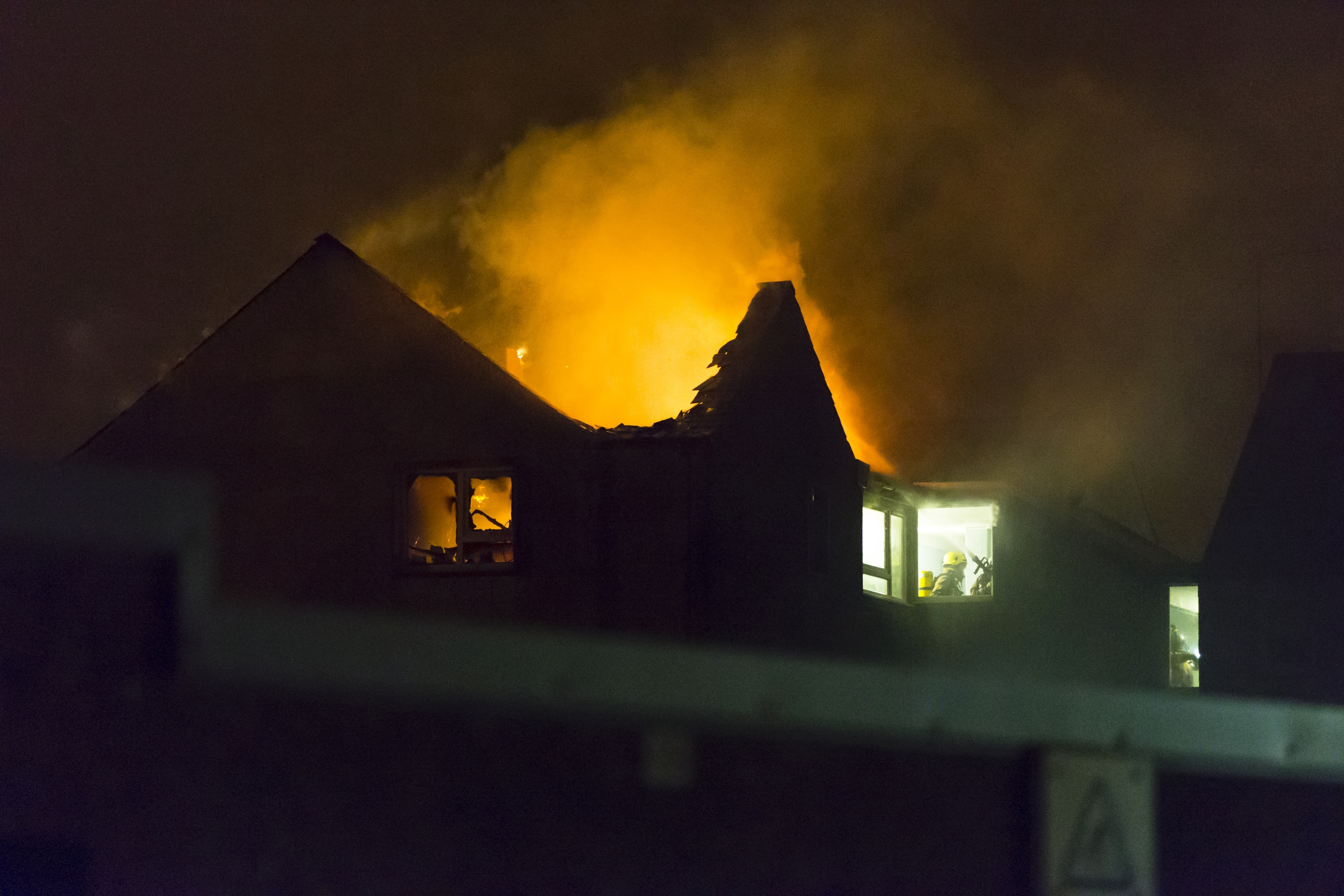 The building's roof collapsed in the blaze