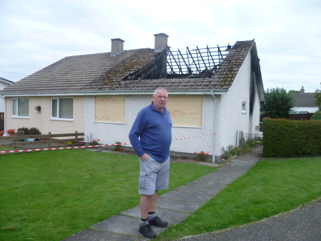 Kenneth McAlpine at the scene of the fire in Nairn