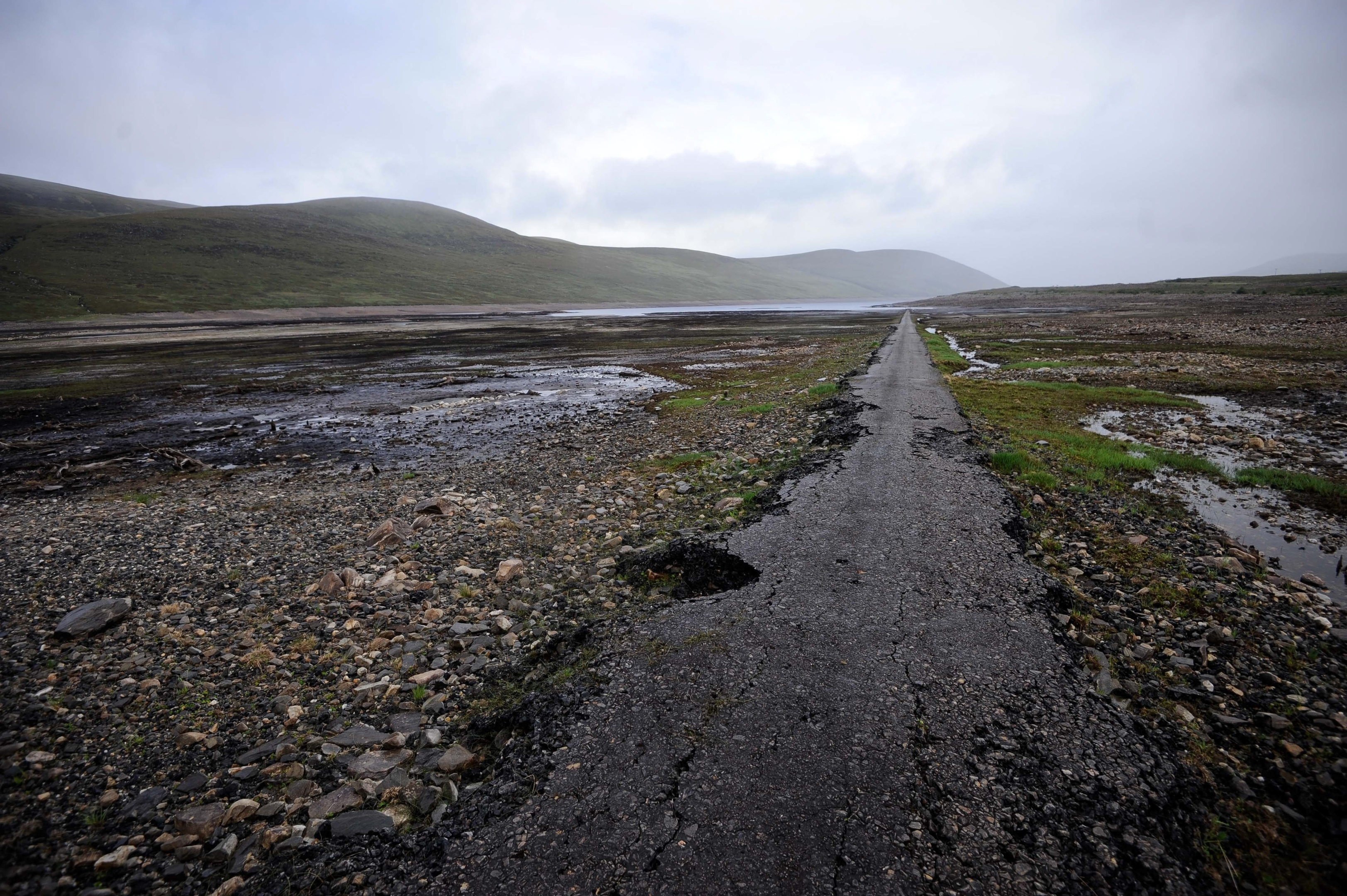 An ancient road is revealed in drained Loch Glascarnoch