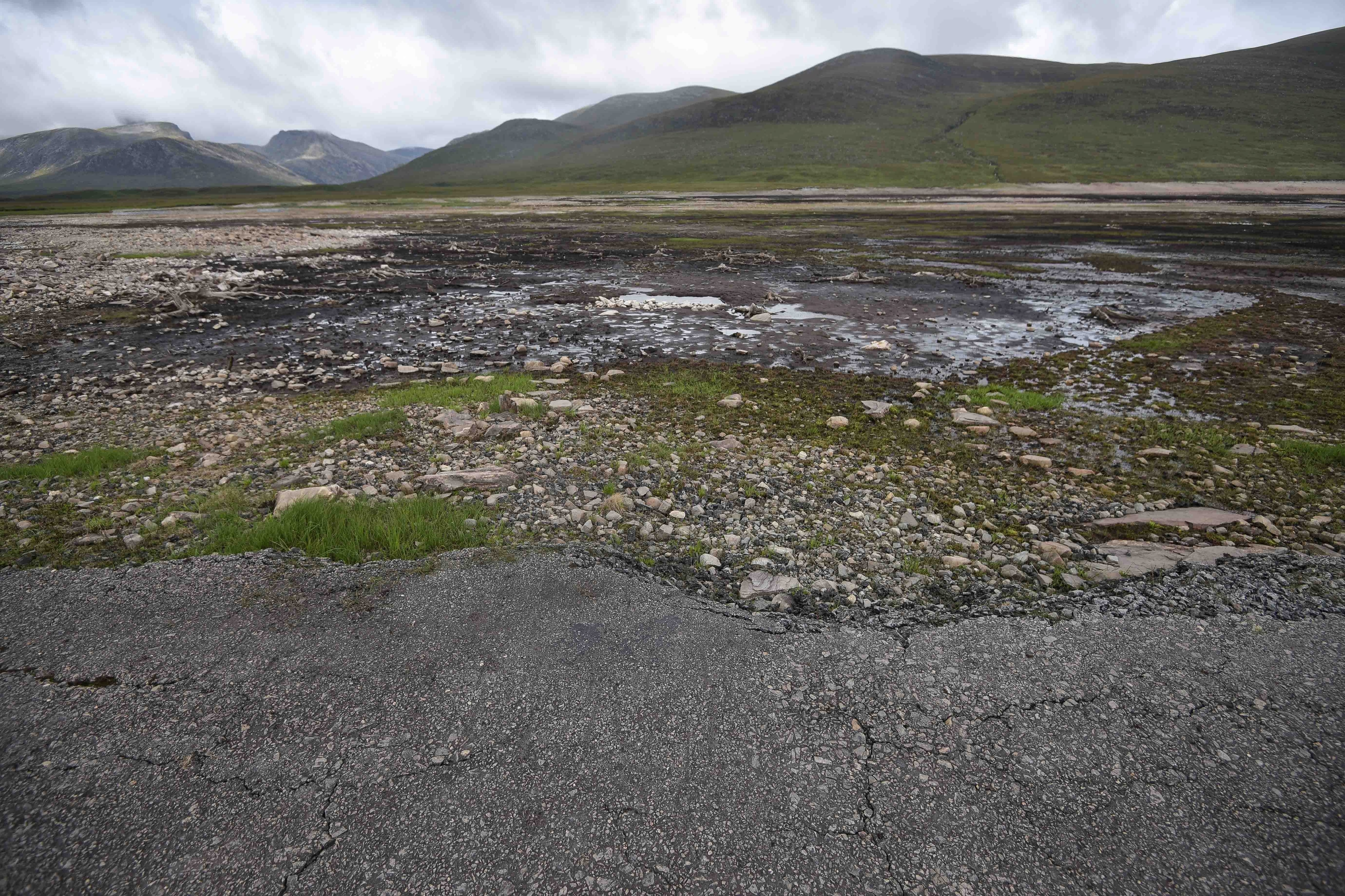 The dried out bed of Loch Glascarnoch