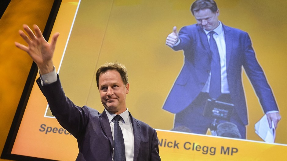 Former leader of the Liberal Democrats Nick Clegg speaks at the Lib Dem annual conference at the Bournemouth International Centre