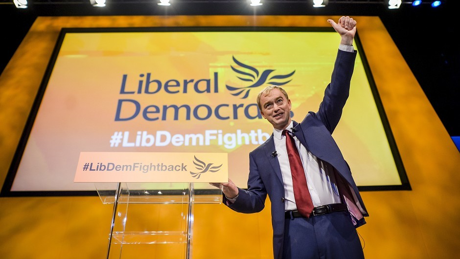 Leader of the Liberal Democrats Tim Farron after delivering his keynote speech at the party's annual conference in Bournemouth