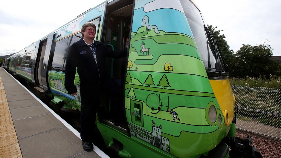 Train driver Yvonne Reid gets ready to try out a new Borders Railway train at Tweedbank station