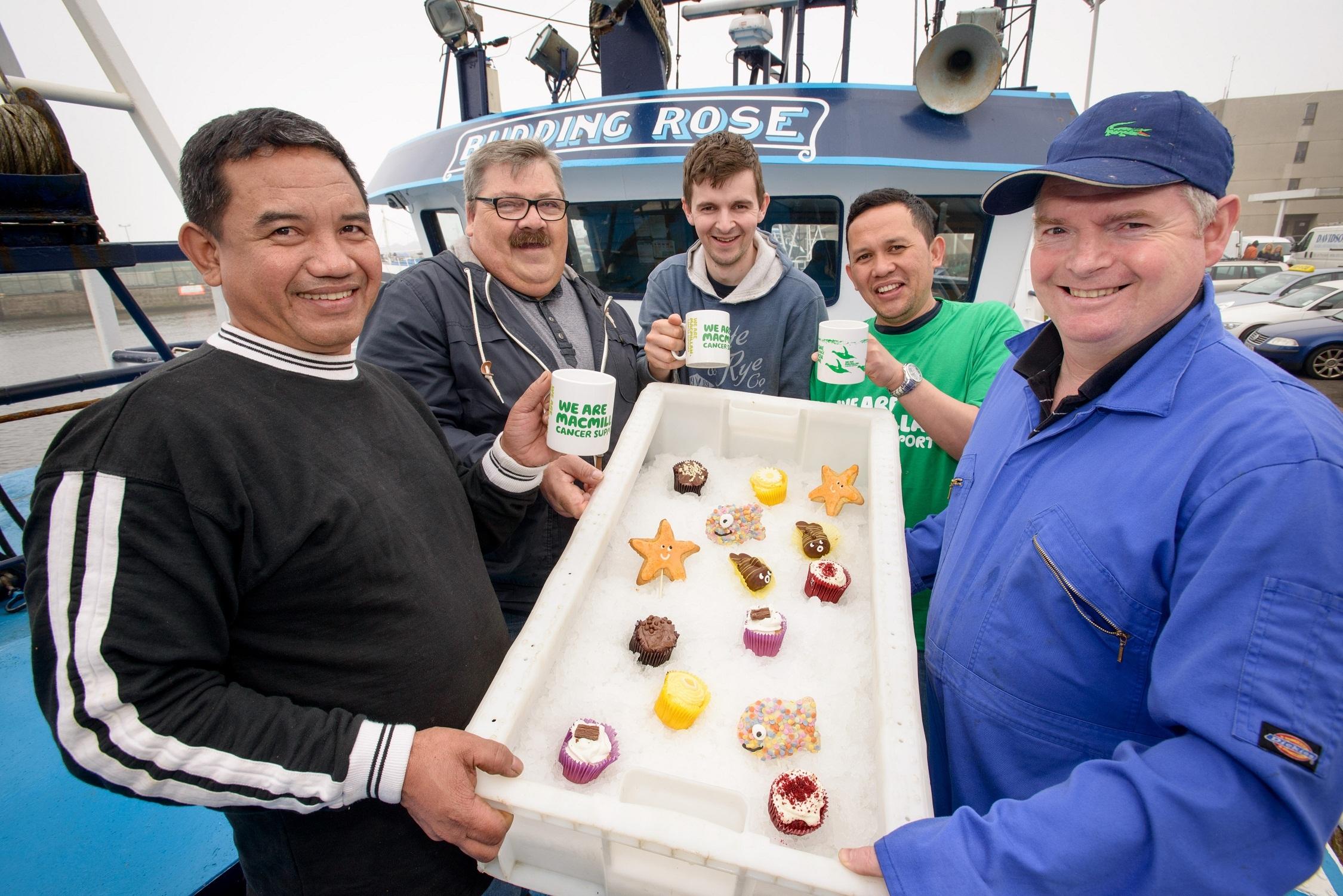 Macmillan Peterhead cup cakes on trawler 11sep15