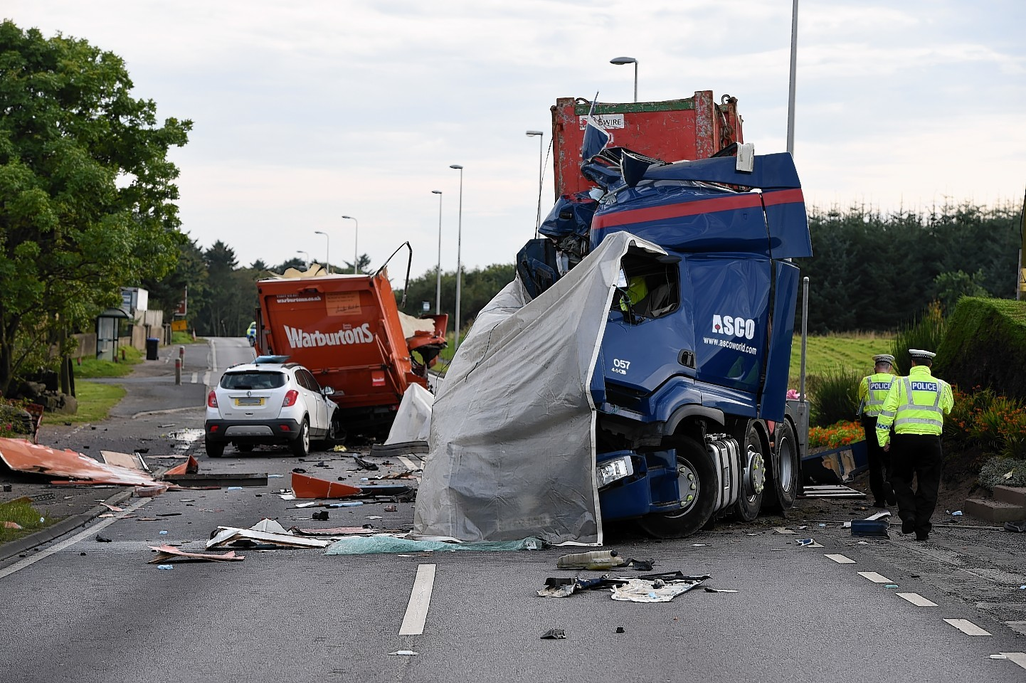 Two HGV drivers died following the collision on the Foveran to Balmedie A90 in Aberdeenshire.  Picture by Kenny Elrick
