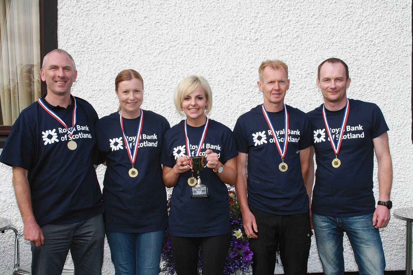 The winning team from RBS -  Brian Murphy, Mairi White, Karis Marinello, Bill Dickson and Jason Cram.