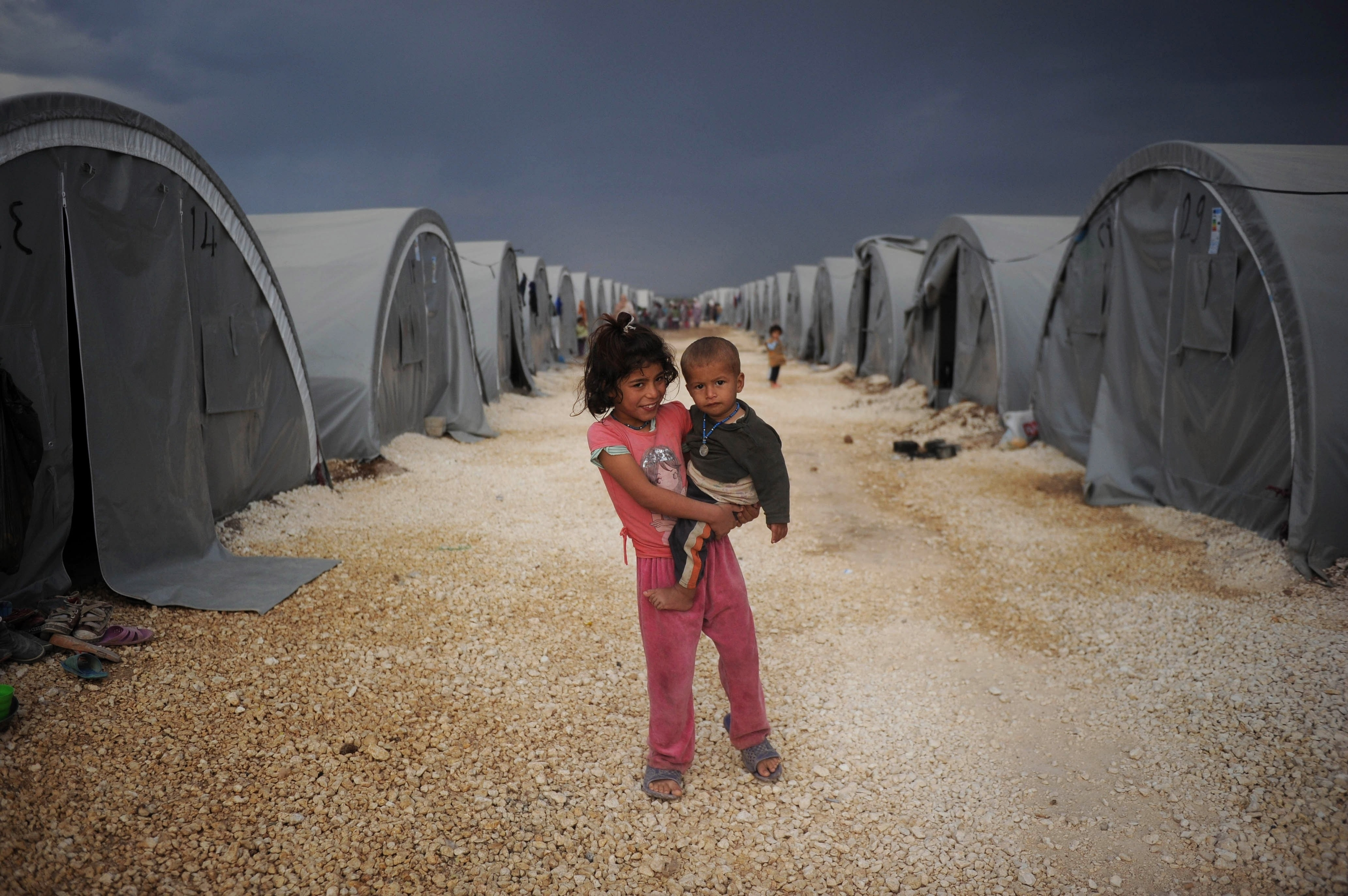 Syrian refugee children in a Turkish holding camp