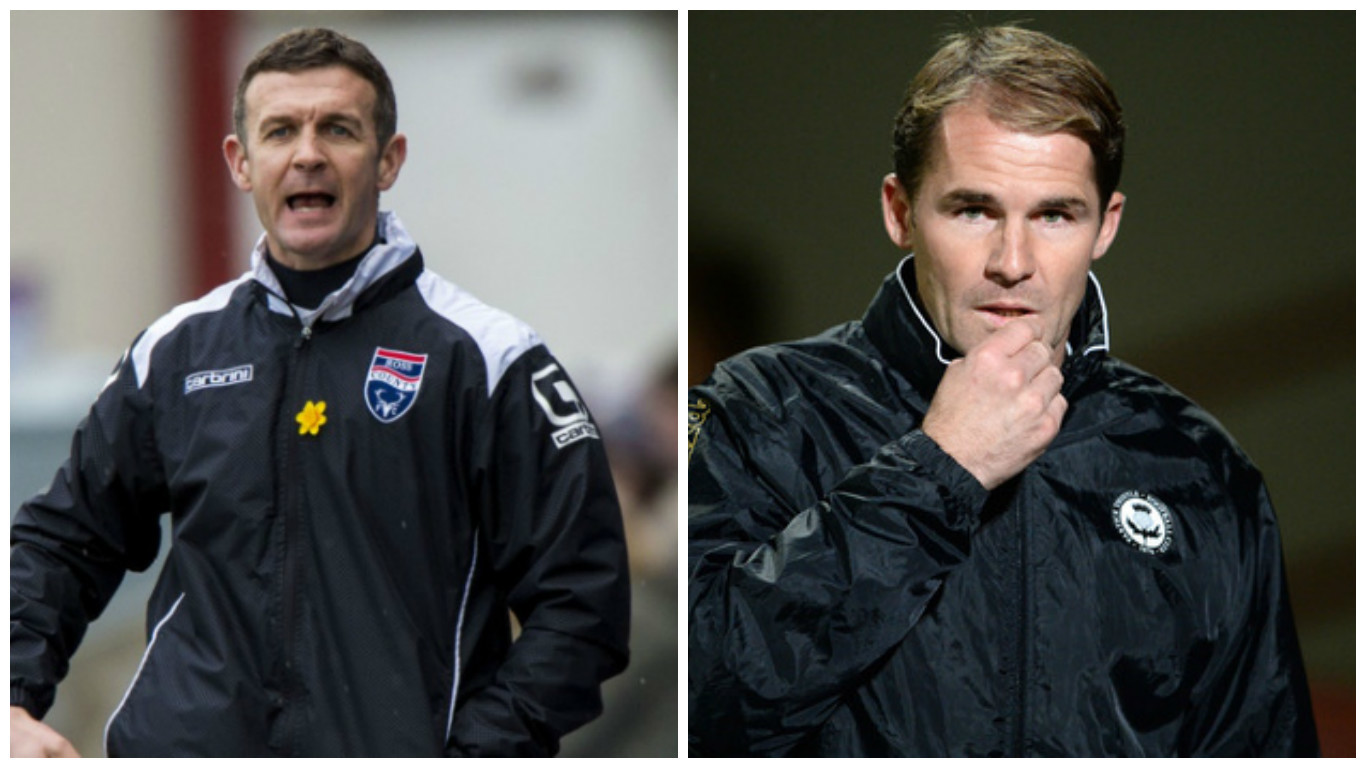 Jim McIntyre, left, is looking to make ground up on Alan Archibald's Partick Thistle.