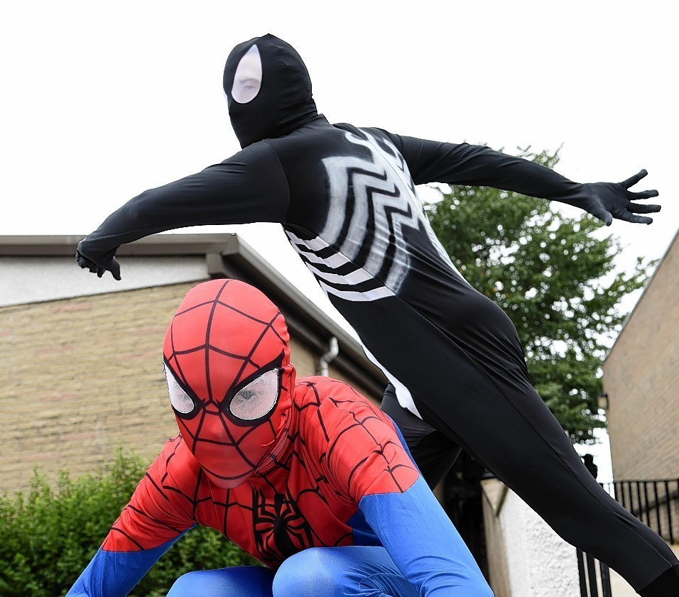 """Inverurie held its very own Comic Con """"Inver-Con II"""" as part of the World of Words literary festival at The Garioch Community Centre.  Picture of (L-R) David Johnston and James Murray."""