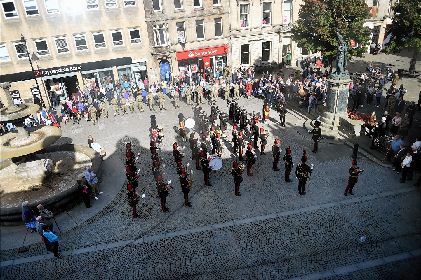 The Royal Regiment of Artillery Band and the Highlanders  Pipes and Drums launch the Highland Tattoo from The Plainstones in Elgin