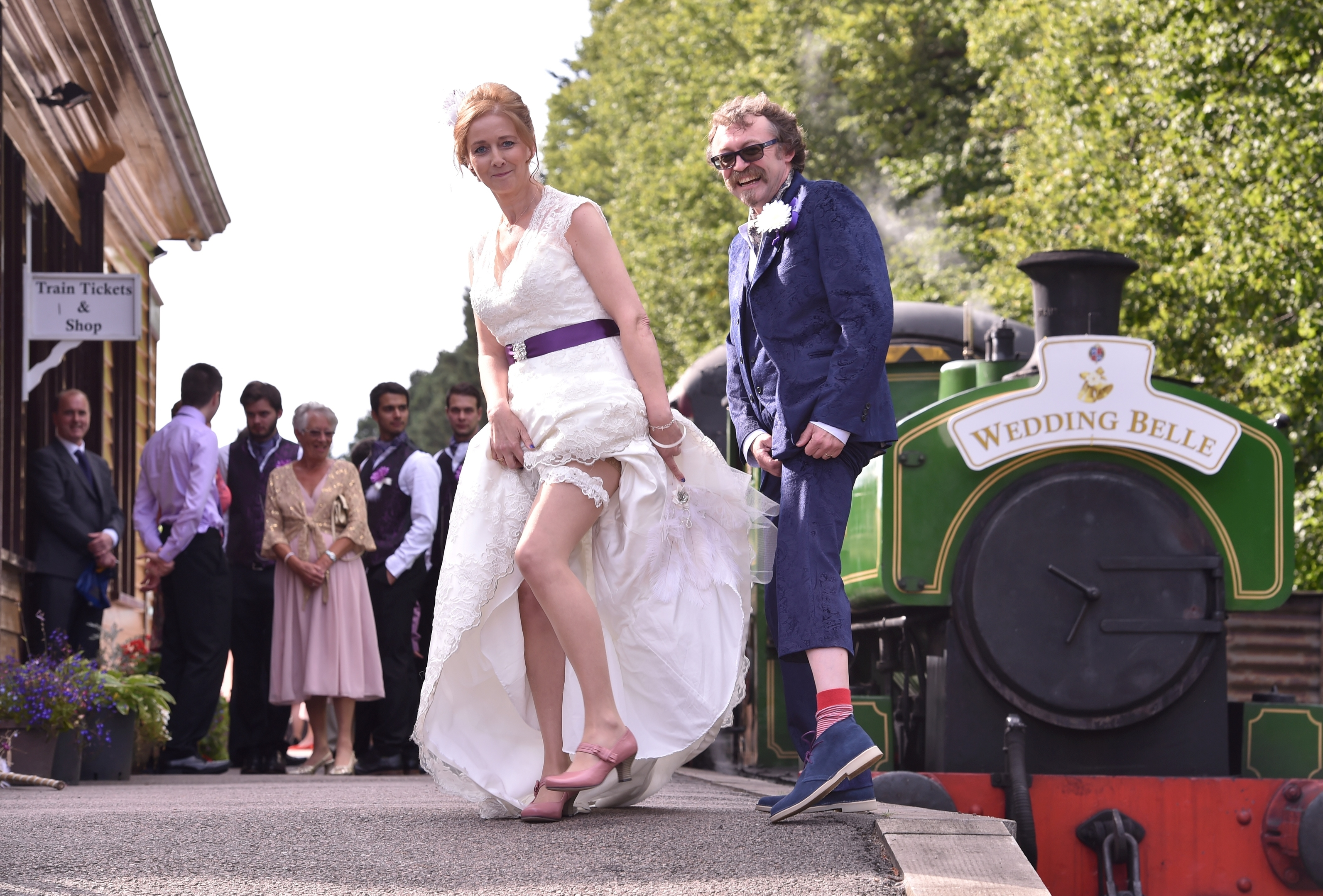 Milton of Crathes Station - the wedding of Shaun Allan and Carol McLaughlin had taken place on the moving carriage. Picture by COLIN RENNIE  September 10, 2015.