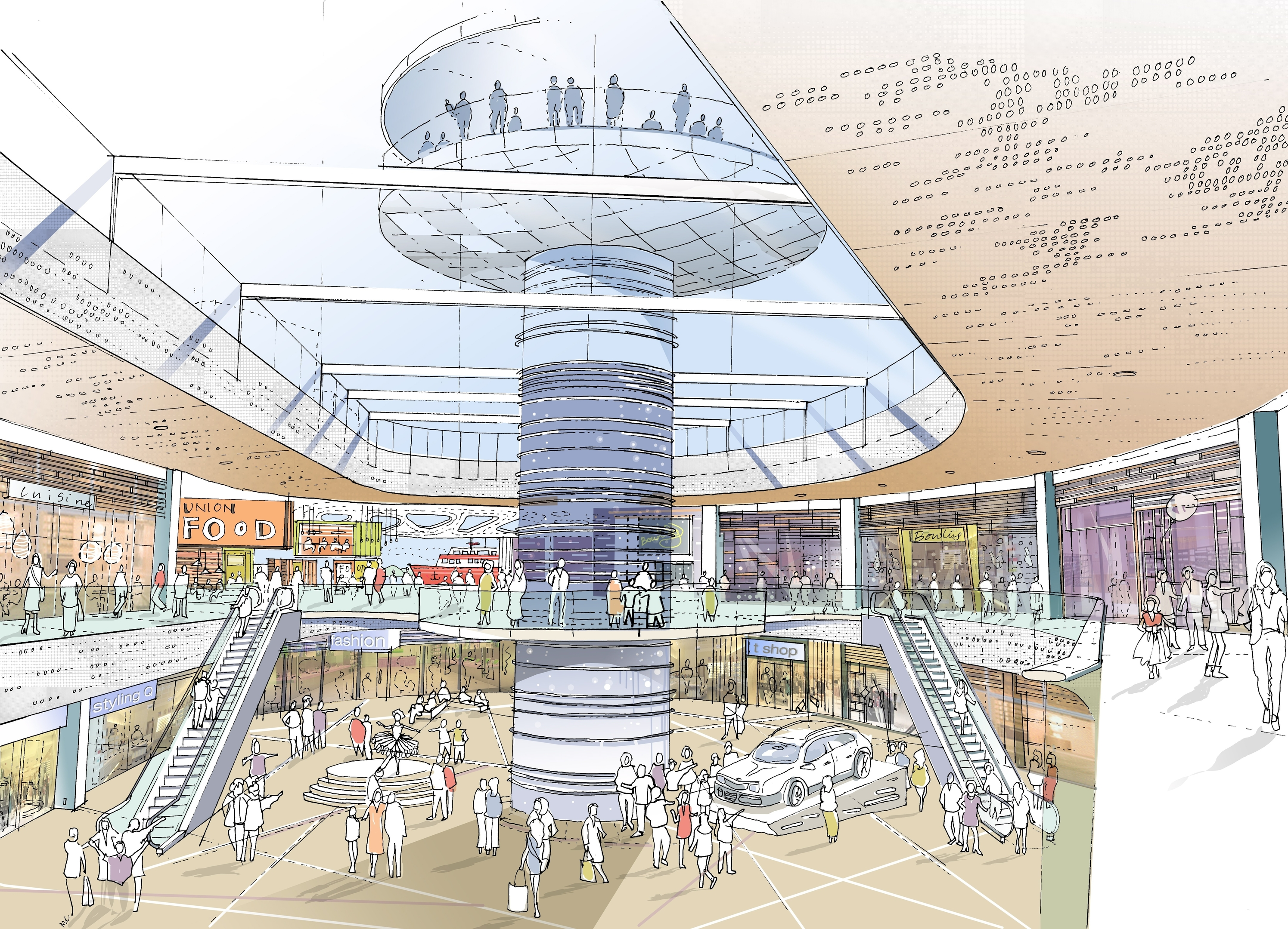 Artist impression of the planned revamp of Aberdeen's Union Square.  This image shows an observation tower