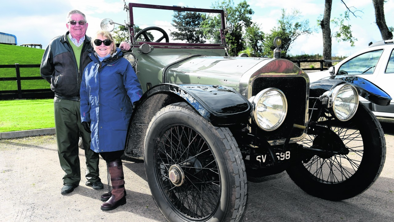Donald and Judy Fisher, from Cupar, Fife, with their 1914 Wolseley Sporting Torpedo 5 litre.
