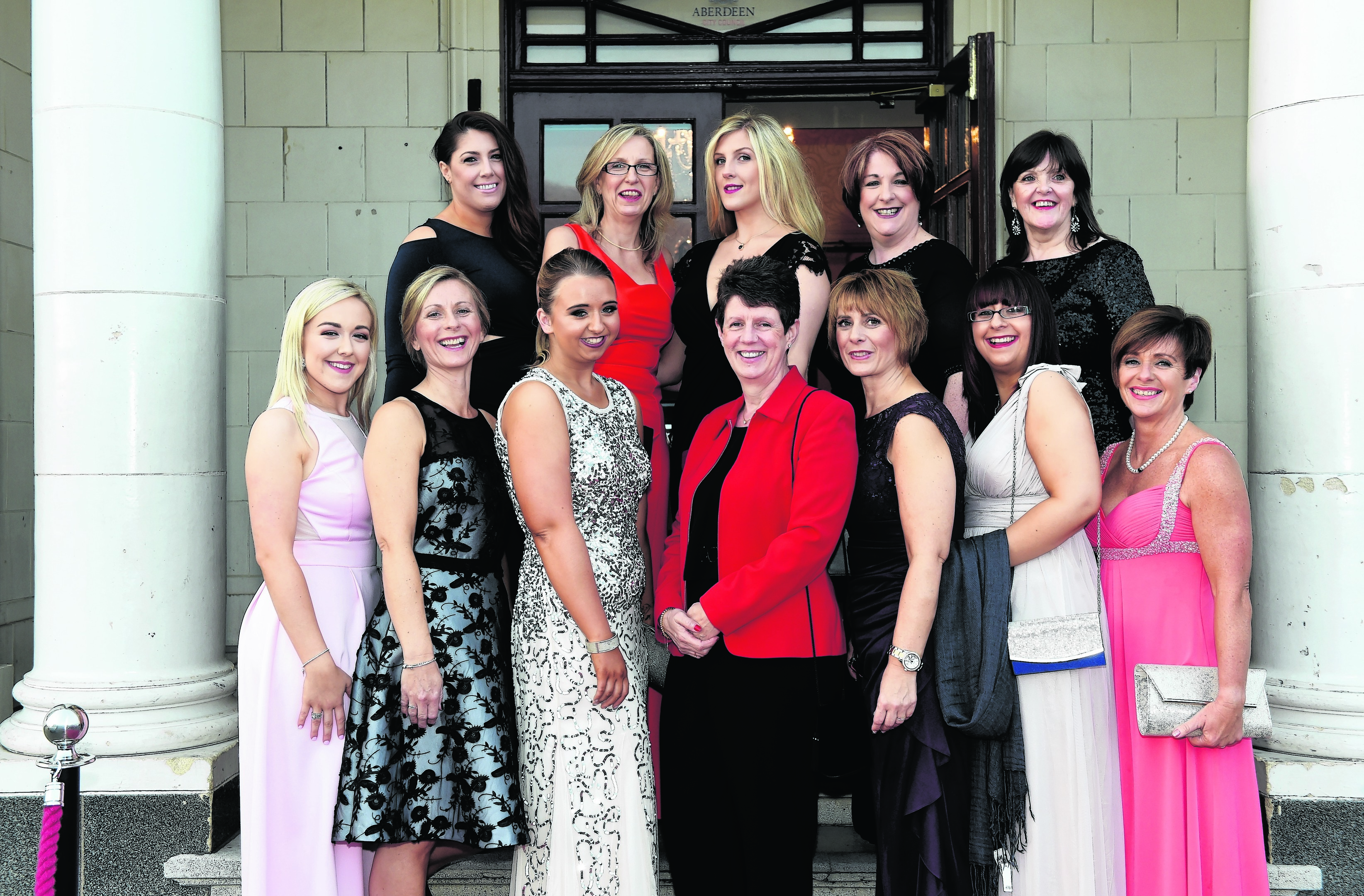Back row: Amie Cummine, Susan and Fiona Barclay, Jill Campbell and Maggie Mackenzie. Front row: Rebecca Milne, Lorraine Burns, Megan Gall, Anna Armstrong, Shona Gall, Hannah Gall and Karen Fyvie