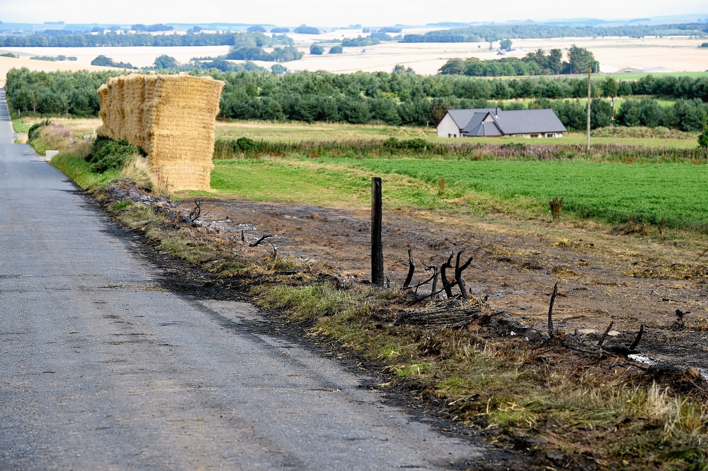 400 hay bales were set alight on the farm near Rothienorman. Picture: Kenny Elrick.