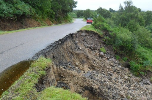 Torrential rain caused a 65ft section of carriageway on the B9012 between Dallas and Knockando to collapse in September.