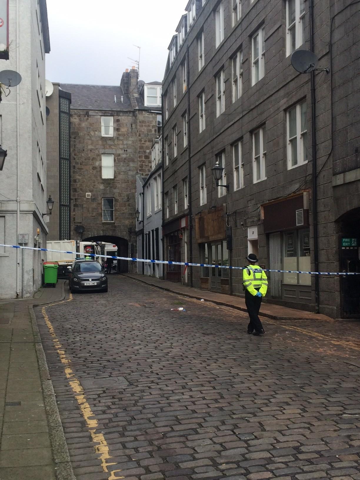 Scene of the incident on Adelphi Lane in Aberdeen
