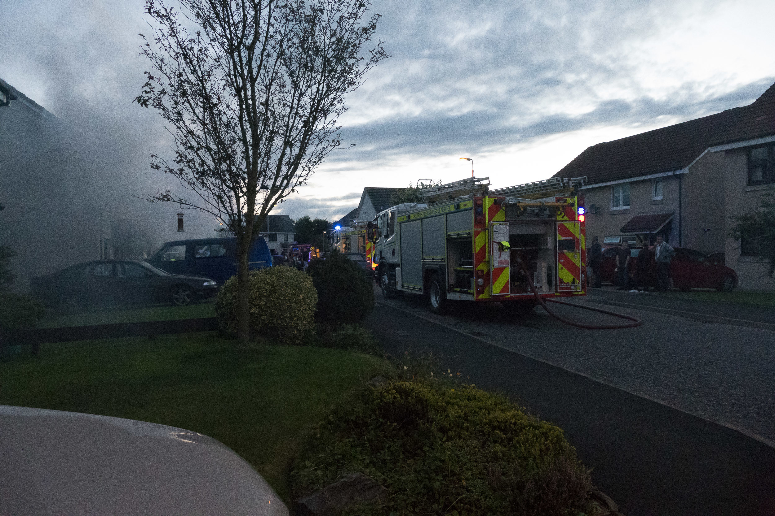 Firefighters at house fire on Redcloak Crescent, Stonehaven. Pic by Maureen Berry