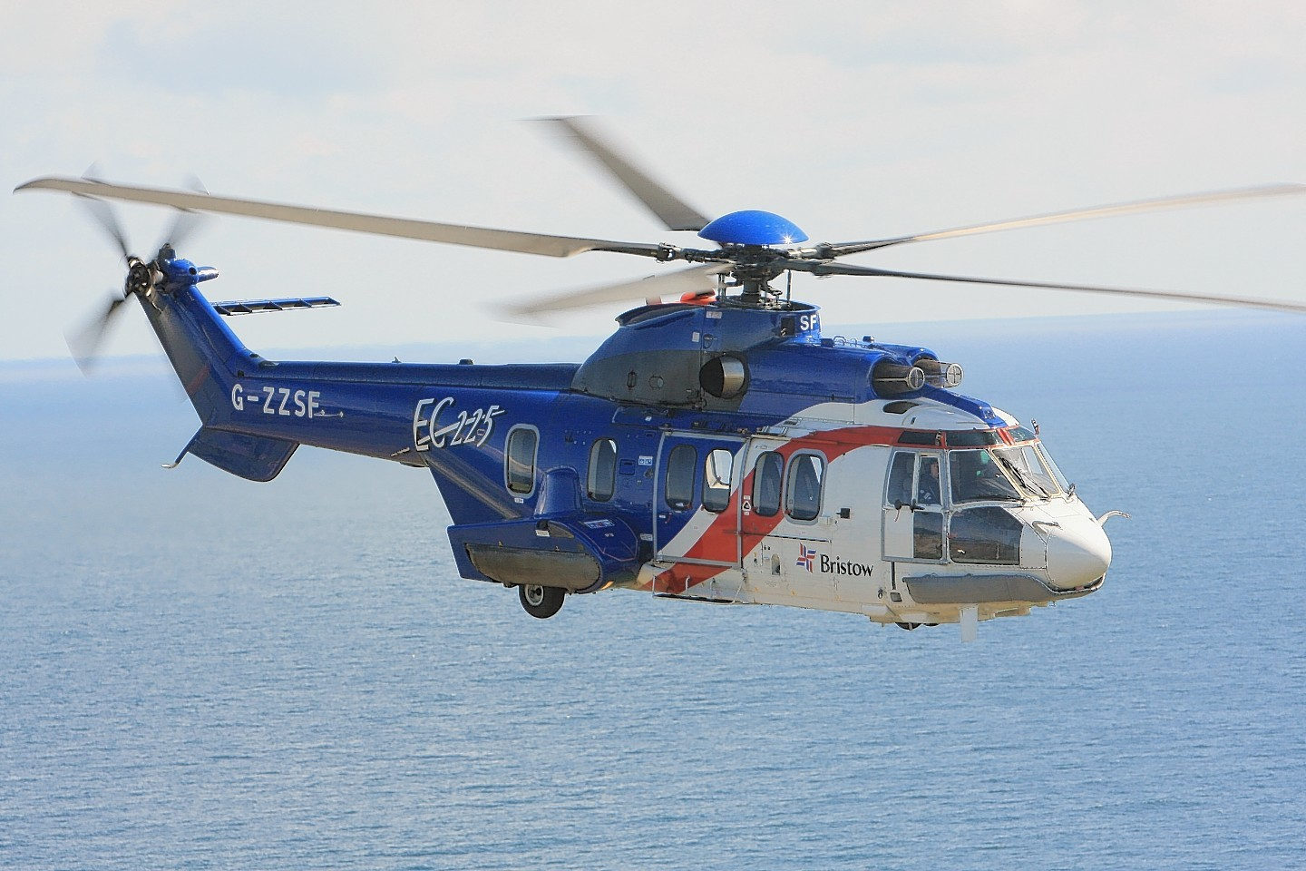 A Bristow helicopter has returned safely to shore