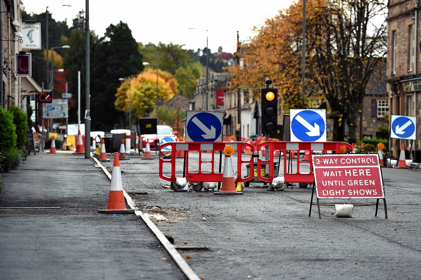 Roadworks in Main Street, Aberlour.Picture by Gordon Lennox