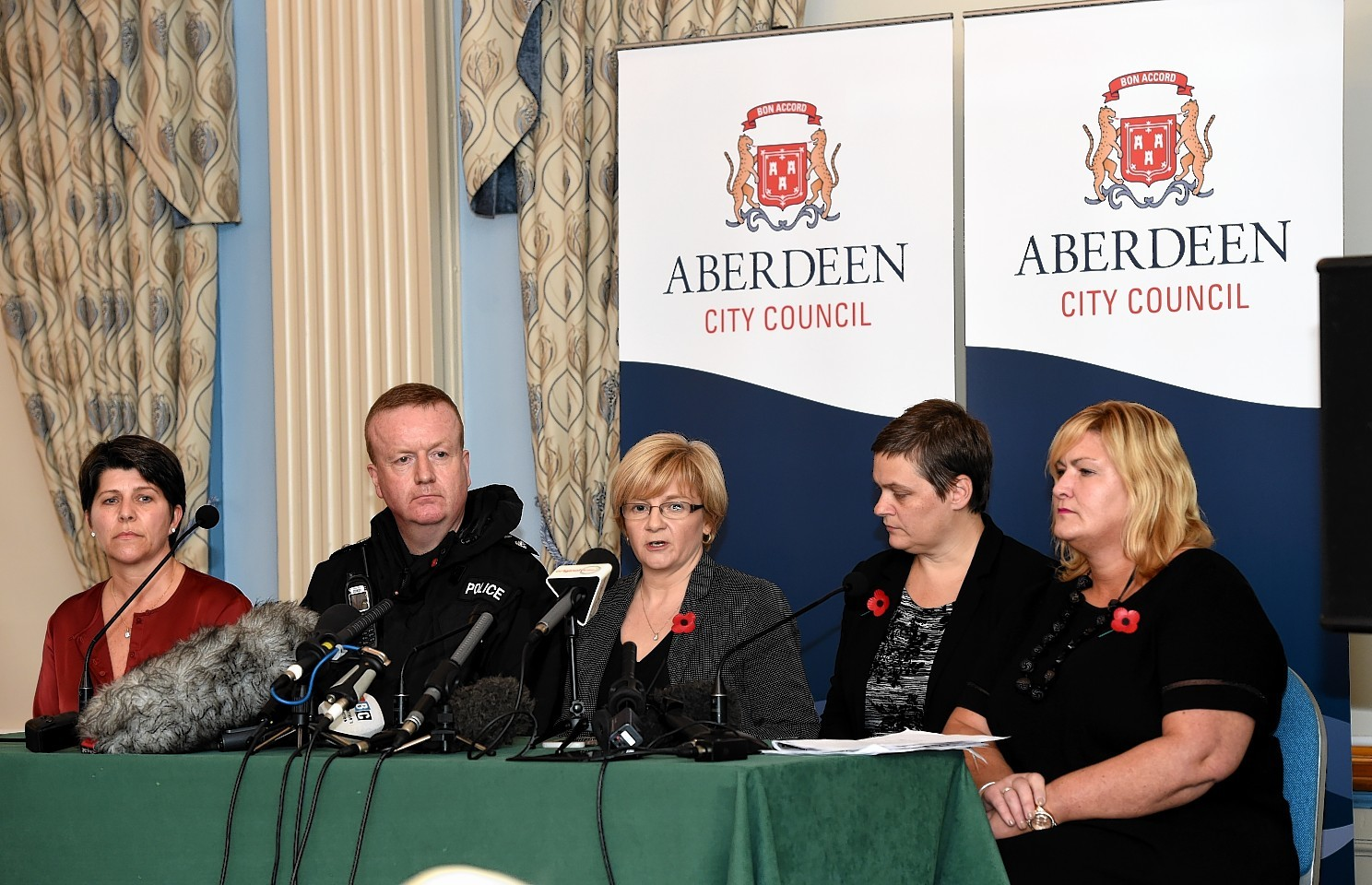 Deputy council leader, Marie Boulton, Chief Superintendent, Adrian Watson, Aberdeen City Council Leader, Jenny Laing, Chief Executive, Angela Scott and Director of Education Children's Services, Gayle Gorman, hold a press conference at the Beach Ballroom