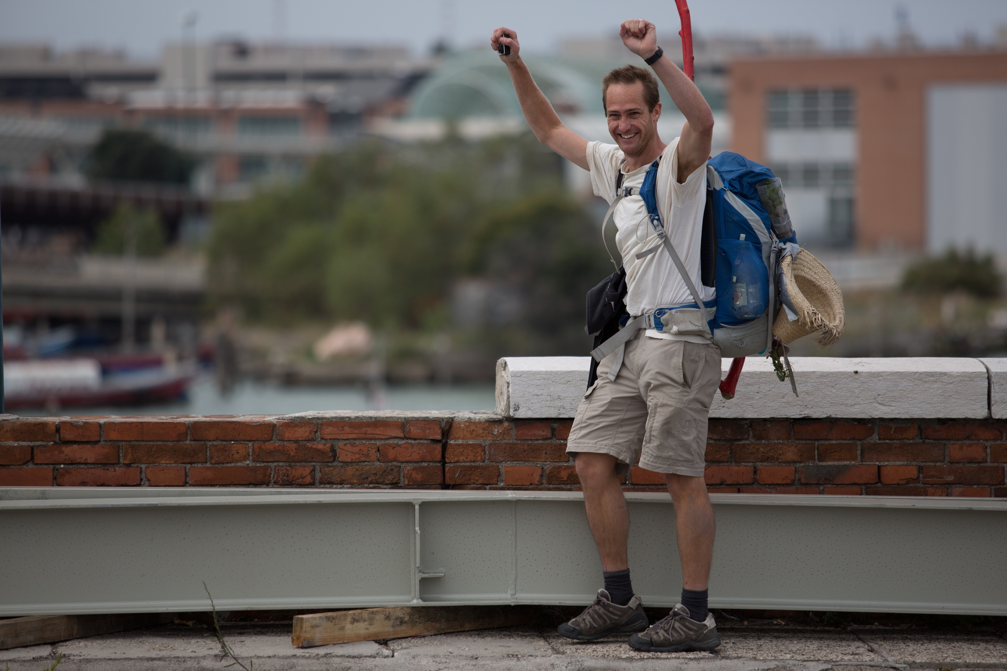 Anthony Schrag celebrates as he arrives in Venice