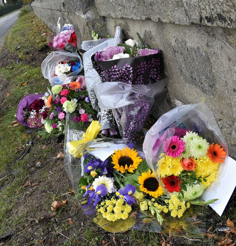 Flowers at the scene of a fatal accident on the B9001 near Mains of Glack, just past Daviot going towards Rothienorman. Picture by COLIN RENNIE
